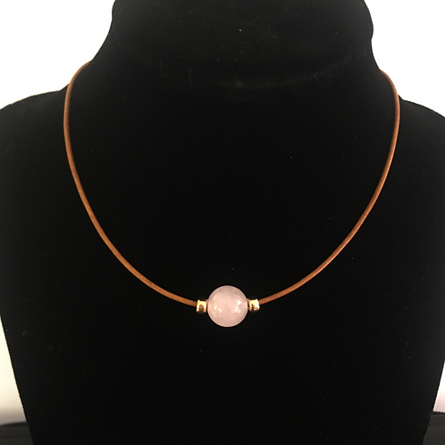 Light Pink Crystal Quartz Necklace on Leather