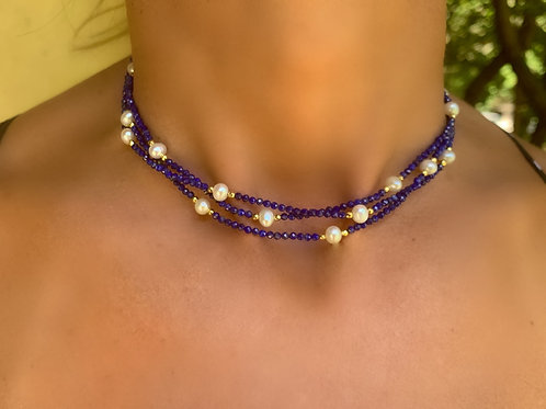 Lapis & Pearl 3 Way Necklace