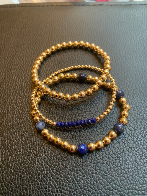Lapis and Gold Bracelets