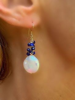 Lapis and Coin Pearl Earrings