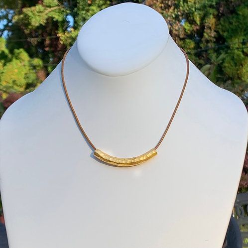 Large Gold Bar Necklace - 3 Inch Bar on Leather (2 Leather Choices)