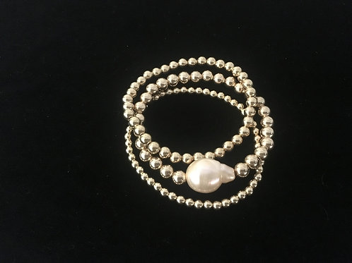 Gold Filled Cluster of 3 with Baroque Pearl