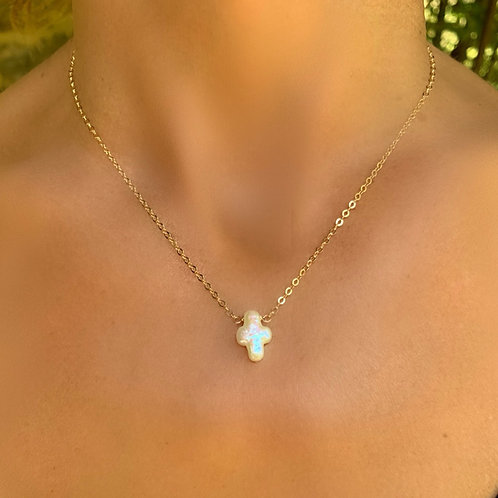 Mother of Pearl Cross on 14K Gold Filled Chain