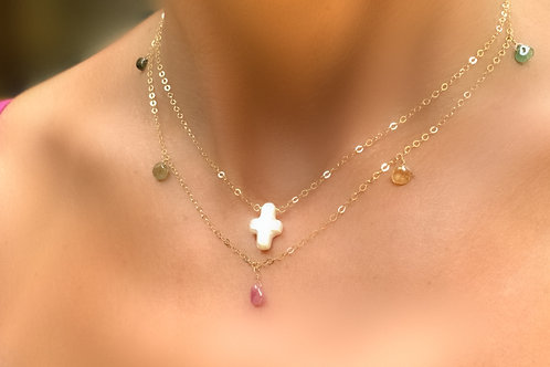 Pearl Cross Necklace & Tourmaline Necklace - 2 Necklaces