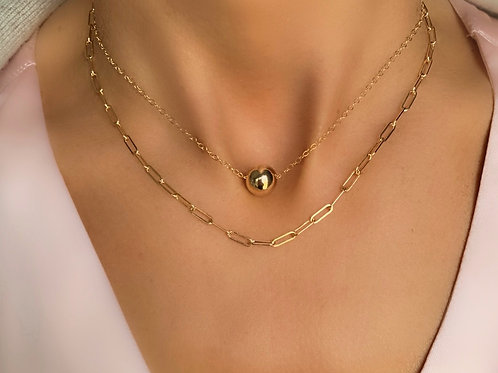 Gold Ball Necklace and Reader Chain Necklace