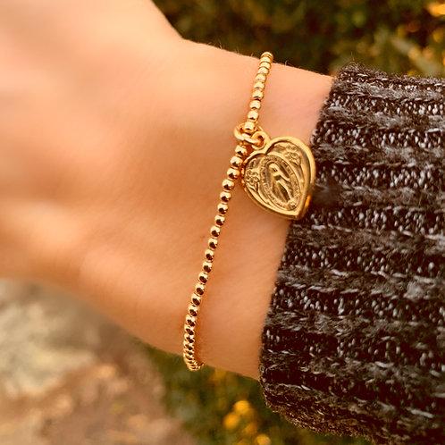 Mary Heart on Gold Bracelet