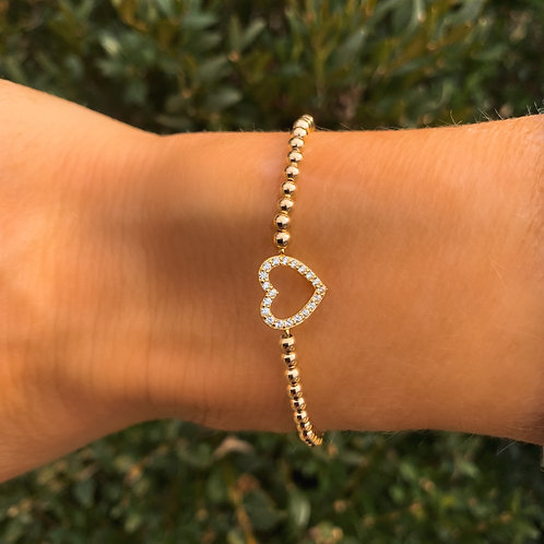 Gold Filled Heart Bracelet with Sparkle!