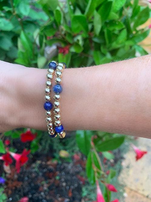 6 Lapis Stone 14K Gold Filled Bracelet
