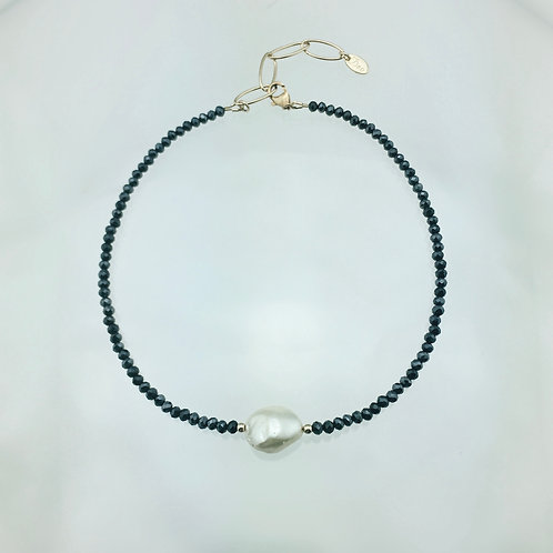 Hana Navy Pyrite and Mother of Pearl Choker