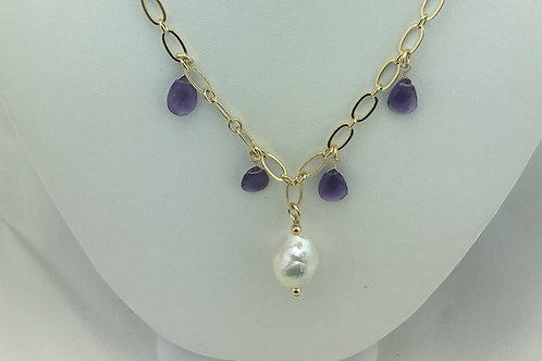 Amethyst Purple Deo Babs Necklace; Lustrous Baroque Pearl