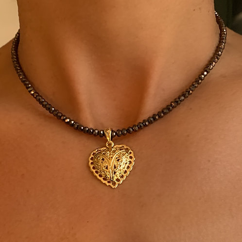 Pyrite Necklace with Gold Filigree Heart