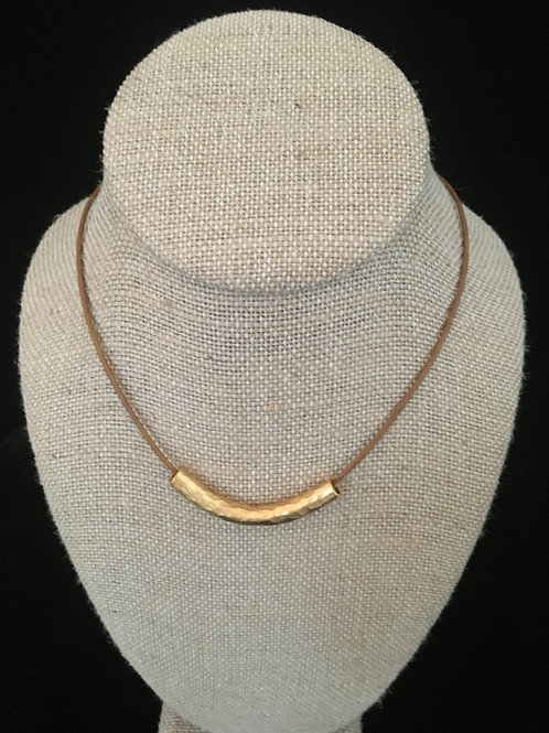 Small Gold Bar Necklace -1 Inch Bar on Leather ( 2 Leather Choices)