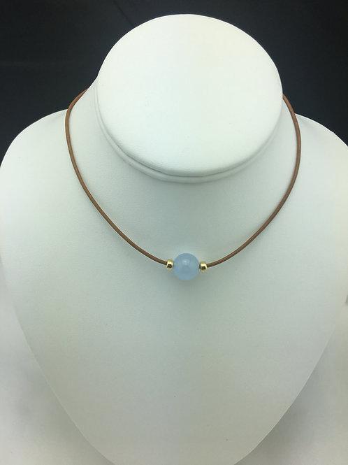 Light Blue Jade Nene Necklace with 14K Gold Filled Rondelles