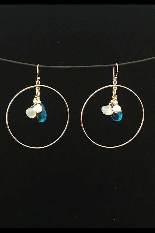 Blue Apatite Moonstone & Pearl Earrings