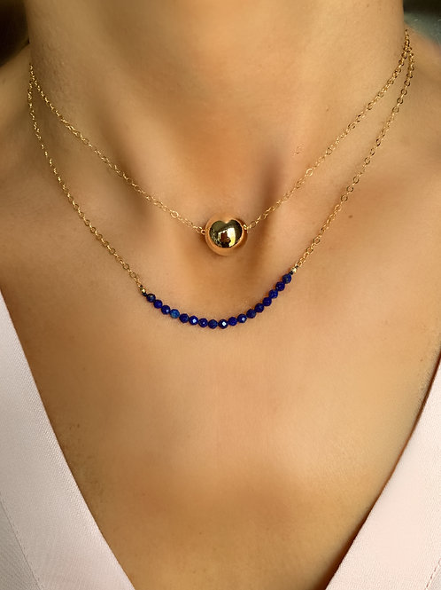 Bead Necklace and Lapis Band Necklace