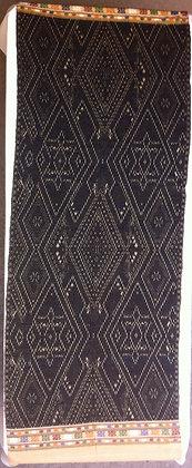 Black brocade on tan shawl