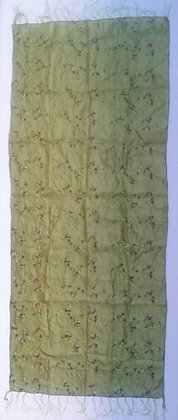 Green with flower embroidery scarf