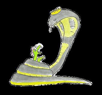 """Kobraen Kong-Kenneth har fanget brilleslangerne Sigrid og Sille - fra Marcus """"skovfars"""" børnerim Sigrid - slangen uden venner - en børnebog i rim for børn fra 4-8 år"""