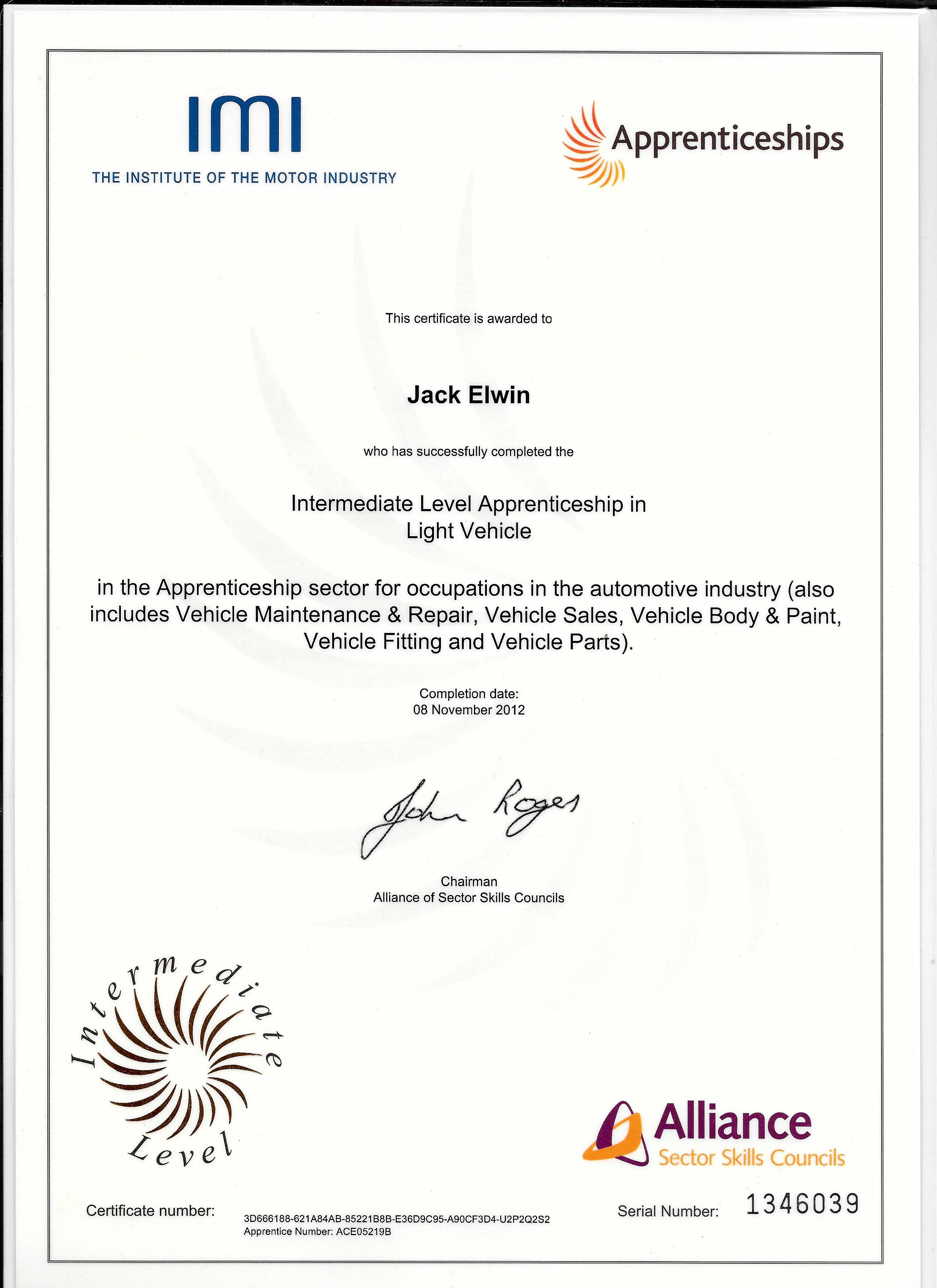 intermidiate certificate