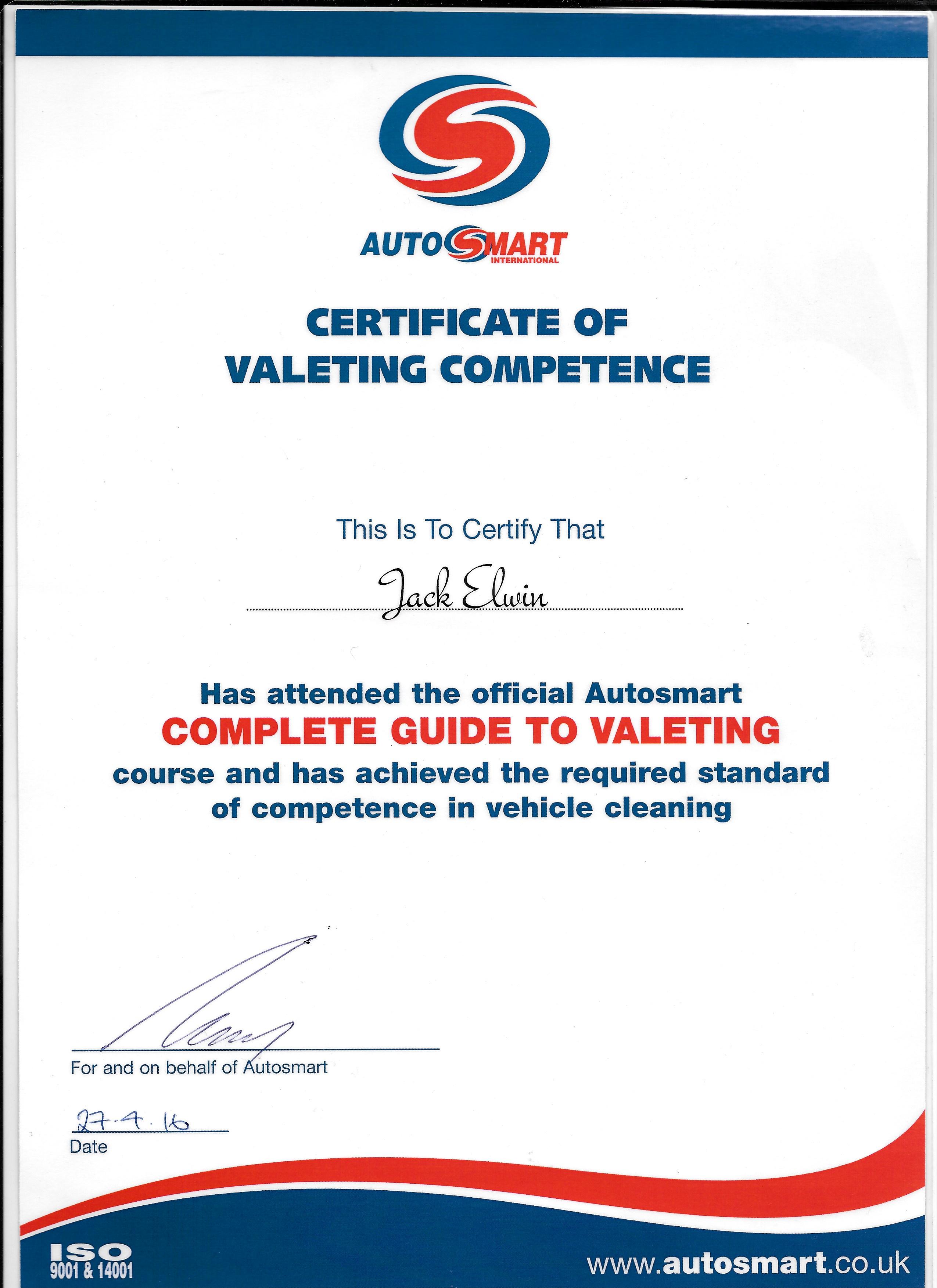 autosmart certificate