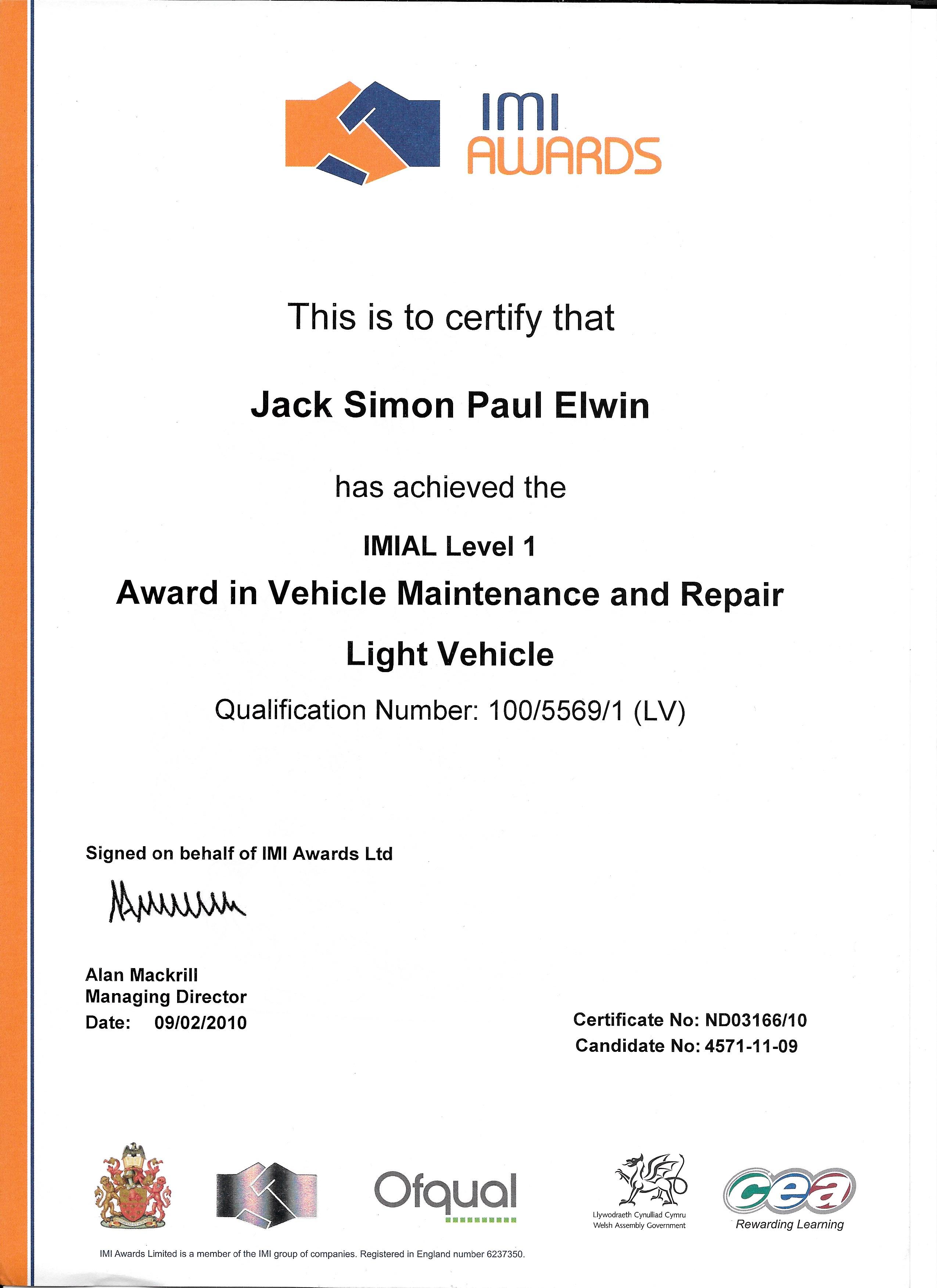 iam 1 certificate