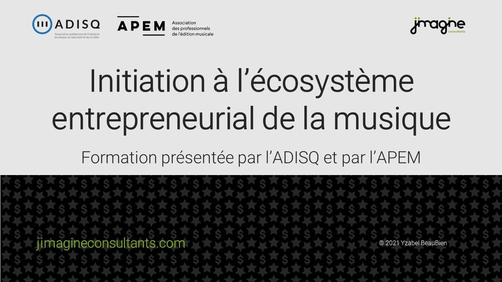 Formation sur l'écosystème de l'industrie musicale