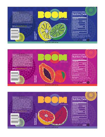 Boom Fruit Drink Illustrated Package Label