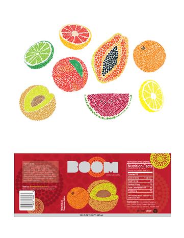 Boom Fruit Drink Illustration & Package Label