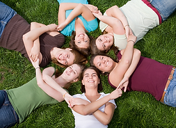 young women friends together