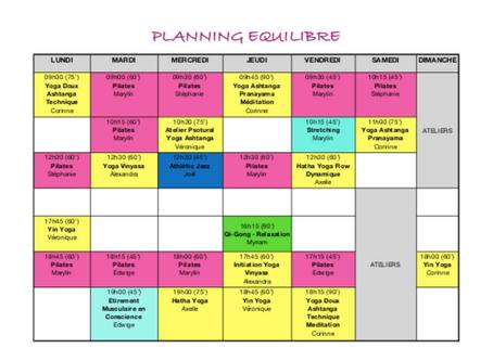 Nouveau Planning!