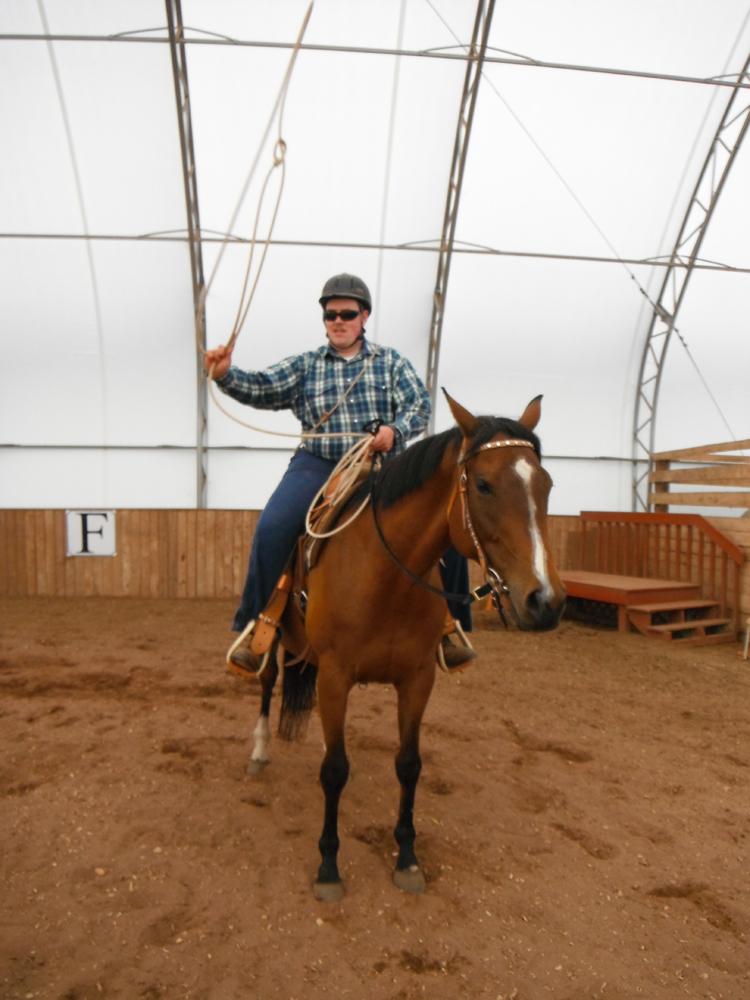 William practicing a rope swing on Sierra