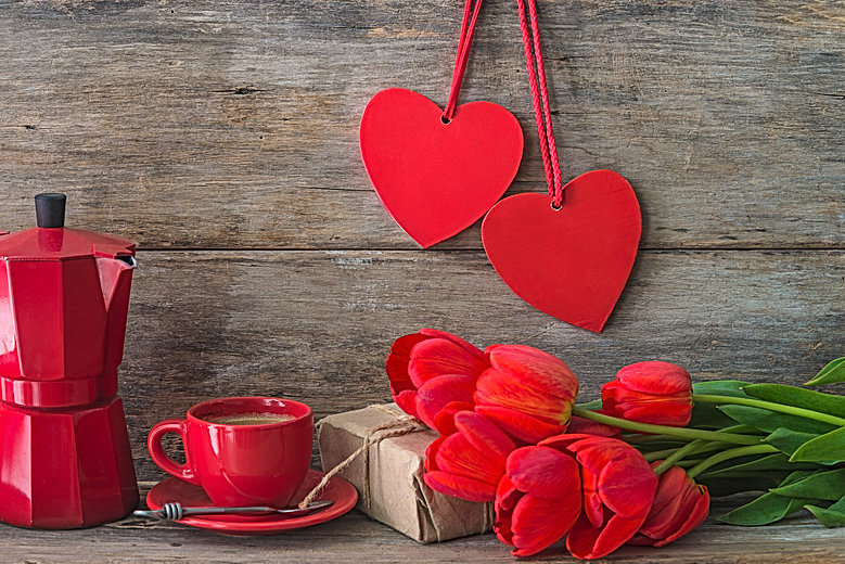Valentine's day concept. Red cup of coff