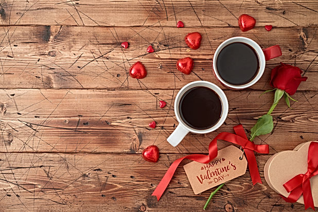 Valentine's day concept with coffee cups