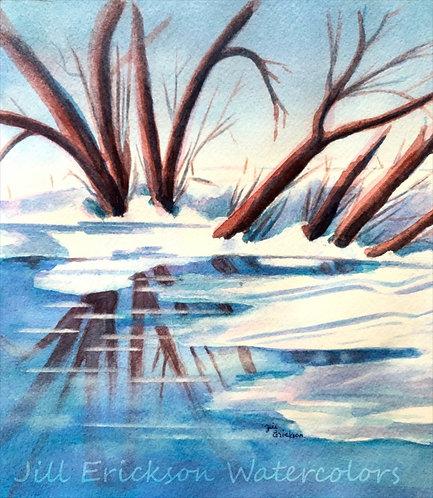 """Winter Reflections"" 9x8 Original"