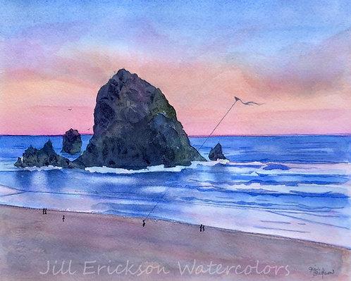 """""""Cannon Beach Kite"""" 9x11 Original"""