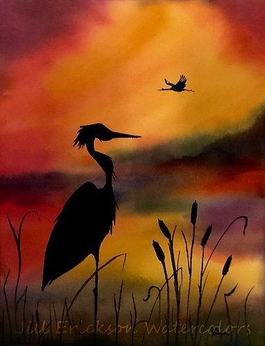 """Herons at Sunset II"" 11x9 Original"