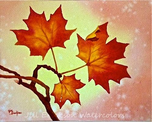 """""""Fall Leaves II"""" Watercolor 8x10 Original"""