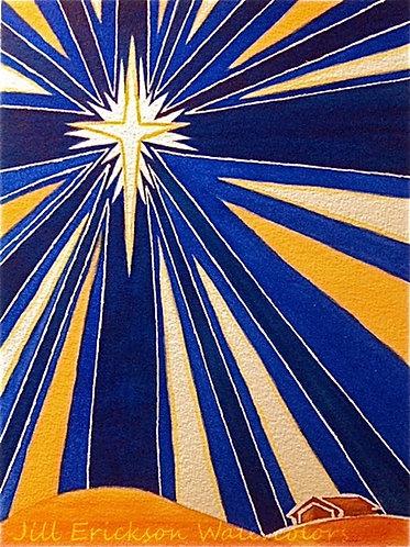 """Bethlehem Star"" Watercolor 11x9 Original"