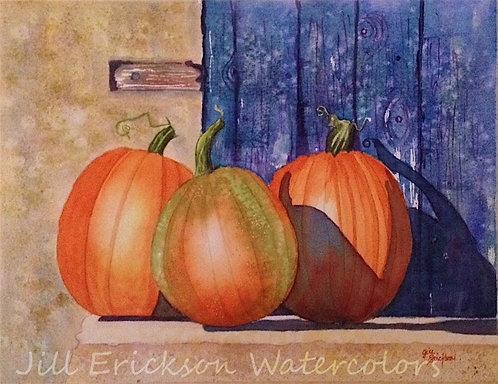 """3 Pumpkins"" 9x11 Original"