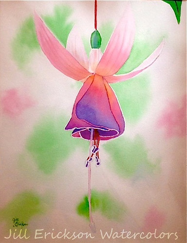 """Fuchsia Blossom"" Watercolor 14x11 Original"