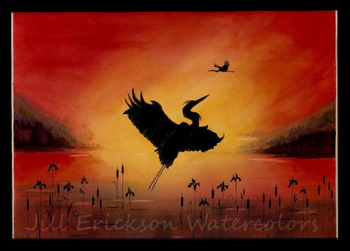 """Heron Rising"" Watercolor 16x20 Original"