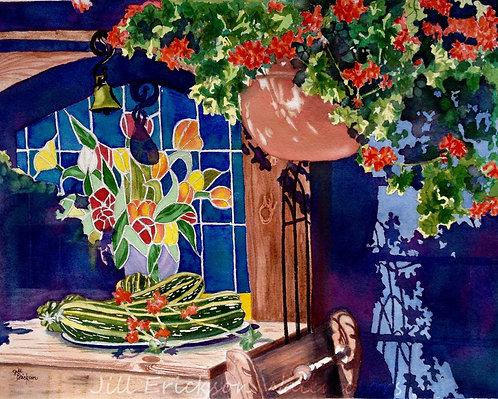"""""""Nancy's Back Porch"""" 11X14 Watercolor"""