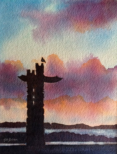 """Totem on Puget Sound"" Watercolor 11x9 Original"