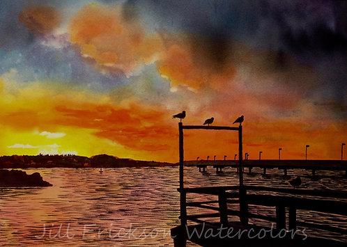 """Des Moines Marina, Sunset"" 18x22"