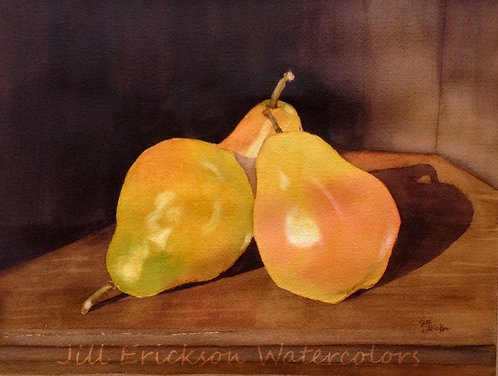 """Pears in Shadow"" Watercolor 11x14 Original"