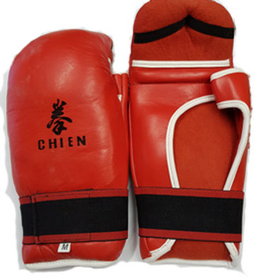 Sparring Gloves with thumbs Leather Red - Medium