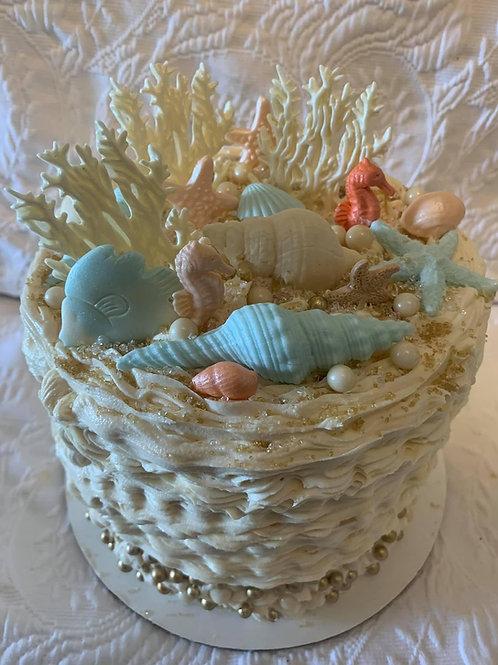 Beach Sea Edible Shell Cake- Specialty $105.00