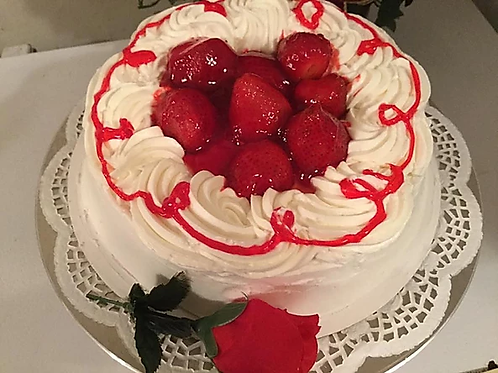 Strawberry Sweetheart Cake with Rose