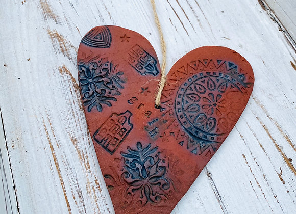 Red Clay Heart Wall Decoration