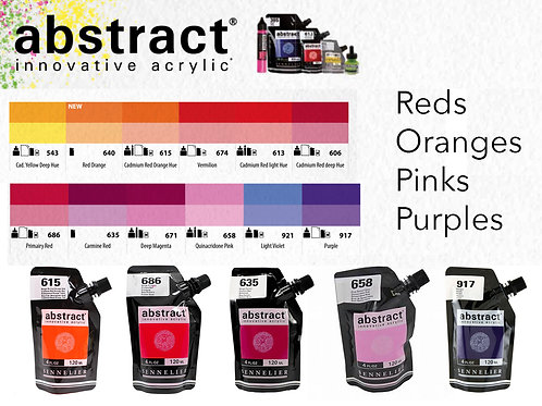 Sennelier Abstract Acrylic Paints - Reds, Oranges & Purples